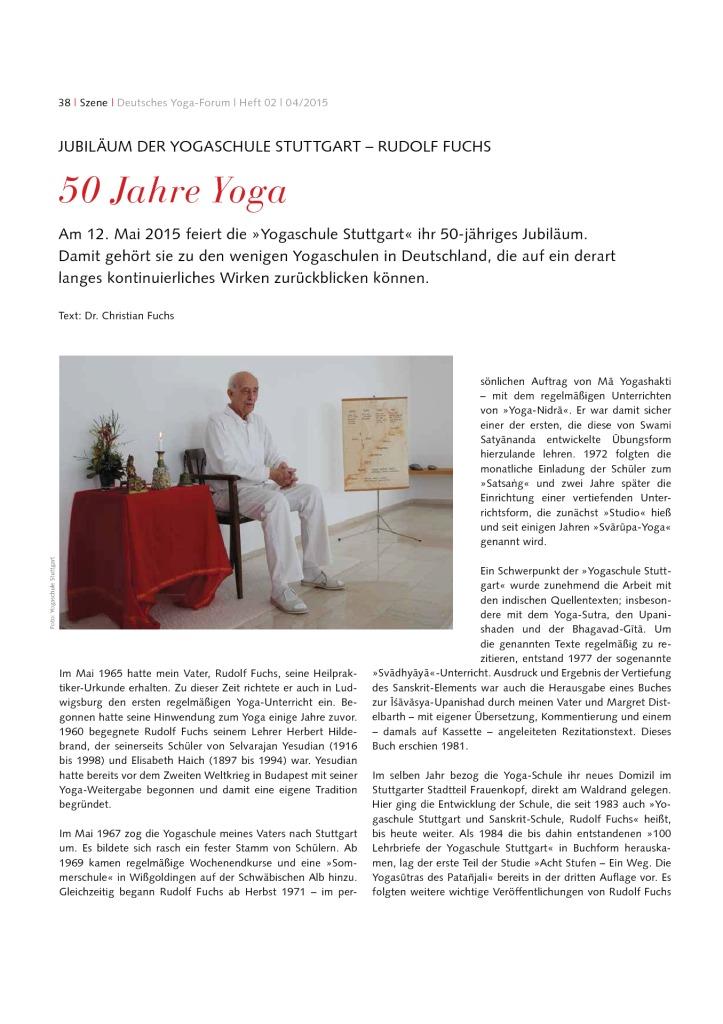 thumbnail of Artikel im deutschen Yogaformum_zum 50 jaehrigen Jubilaeum der Yoga Schule Stuttgart von Rudolf Fuchs