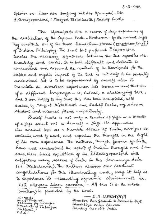 Beurteilung von Prof. Upadhyaya