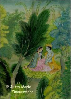 Radha_und_Krishna_-_In_Vrindavan_-_Aquarell_2004_1