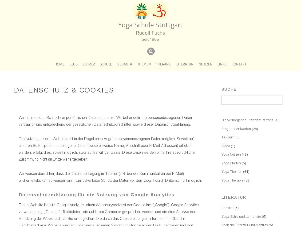 Datenschutzerklärung - Yoga Schule Stuttgart