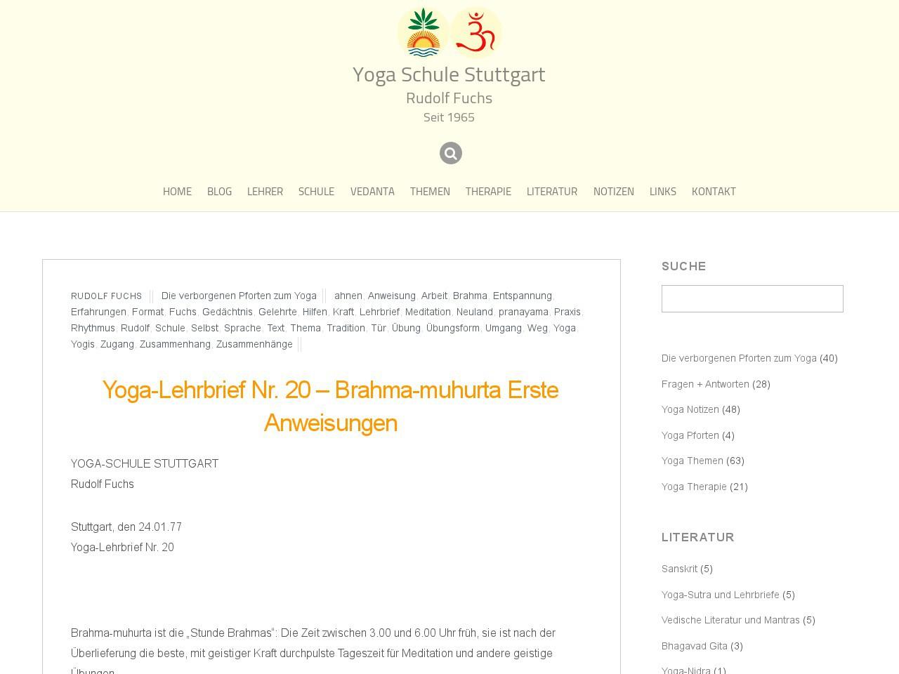 yoga lehrbrief nr 20 brahma muhurta erste anweisungen